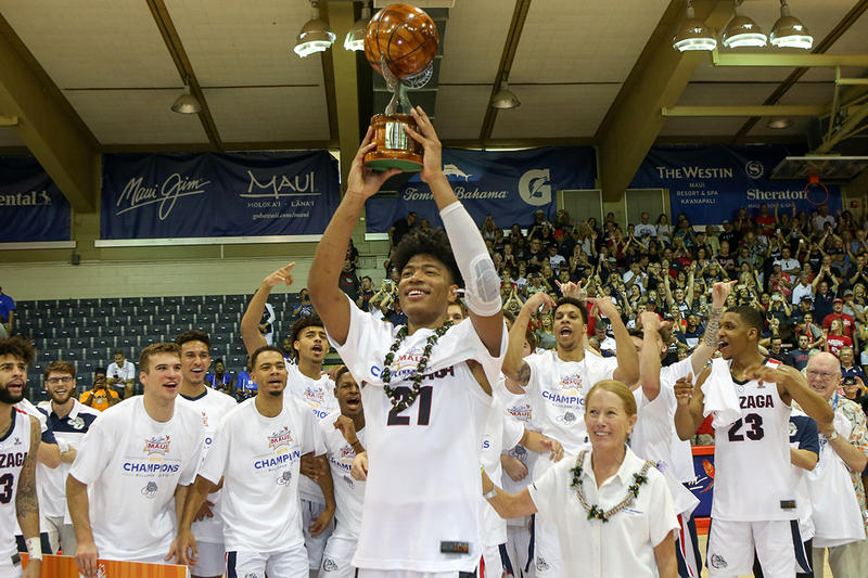 LAHAINA, HI - NOVEMBER 21: Rui Hachimura #21 of the Gonzaga Bulldogs holds up the tournament MVP trophy after the 2018 Maui Invitational at the Lahaina Civic Center on November 21, 2018 in Lahaina, Hawaii. (Photo by Darryl Oumi/Getty Images)